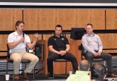 Saturday night's hot stove panel (from left): Kalle Valiaho (Finnish Ice Hockey Association), Kyle Rehman (NHL Official), Justin Fesyk (Hockey Alberta), Brad Lukowich (former NHL player), and moderator Rob Kerr (Sportsney 960 The Fan).