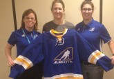 (From left) Team Alberta Head Coach Carla Macleod, Goalie/Video Coach Amanda Tapp, and Assistant Coach Cassea Schols.