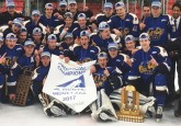 The Leduc Chrysler Oil Kings celebrate their Midget AAA Provincial Championship win on home ice in March.
