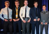 (From left) Alberta Cup All-Stars Garin Bjorklund, Kaiden Guhle, Luke Prokop, Krz Plummer, Kyle Crnkovic and Ethan Rowland were all selected in the 2017 WHL Bantam Draft. Guhle was the first overall selection, going to the Prince Albert Raiders. Photo cre