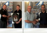 From left: Doug Brown receives the Dave Ganley award from Dave Ganley, Mike Rebus receives his Officials Lifetime Member ring from Curtis Nichols, and Darren Kuz presents Darren Pickering with his North Central Zone Award.