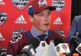 Brooks Bandits defenceman Cale Makar speaks to the media after being selected in the first round, fourth overall by the Colorado Avalanche (Photo credit: College Hockey Inc.)