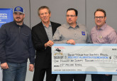 Curtis Glencross, Dennis Zukiwsky (Chair, Hockey Alberta Foundation), Tim Leer (Executive Director, Hockey Alberta Foundation), Jason Evanson (CEO, Ronald McDonald House Alberta), Jennifer Clermont ( Director of Operations, Ronald McDonald House Alberta),