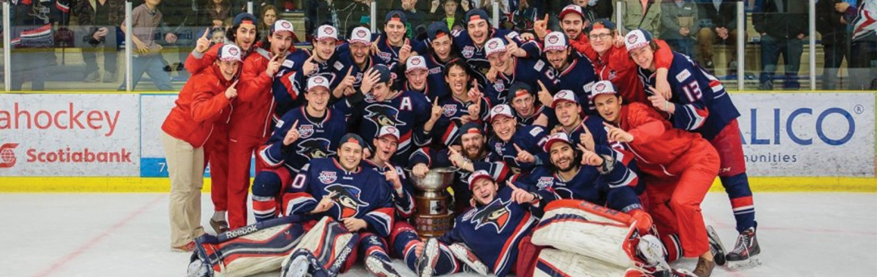 The Brooks Bandits celebrate their third AJHL title in team history. (Photo courtesy of the Brooks Bandits)
