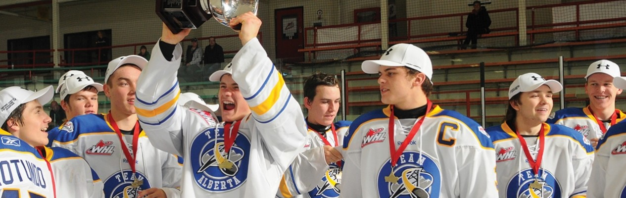Sam Steel (left-centre) and Kale Clague (right-centre), seen here celebrating Team Alberta's 2013 Western Canada U16 Challenge Cup victory, are two of the 16 Albertans selected at this year's NHL Entry Draft. (Photo by LA Media)