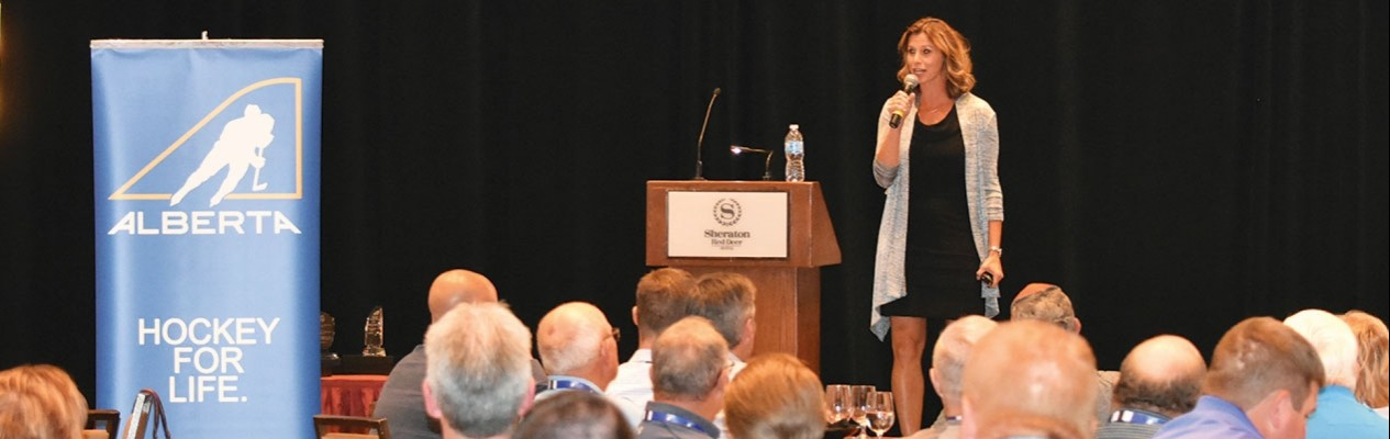 Two-time Olympic gold medalist Catriona Le May Doan served as the keynote speaker at Hockey Alberta's 2017 Hockey Conference and AGM