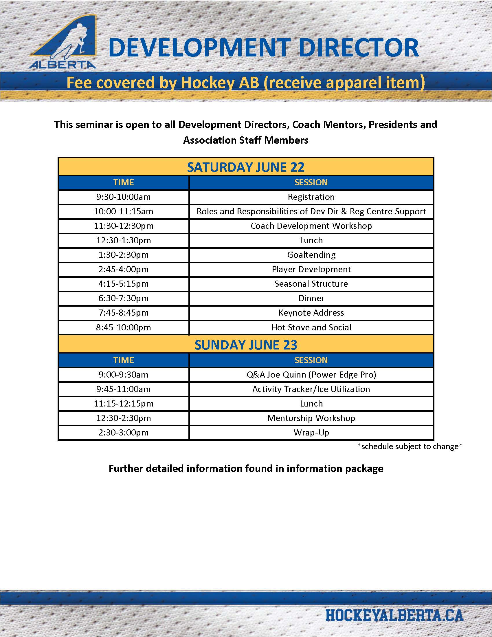 Development Directors Schedule